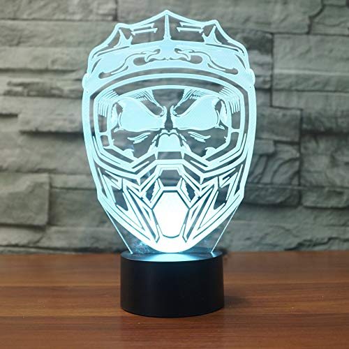 SHNDYW Luci notturne Maschera da Casco Moto 3D LED Night Light USB Lampada da tavolo Home Decor Light Fixture Gift