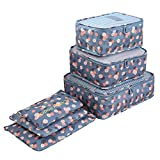 Packing Cubes Travel Organizers Luggage Compression Pouches-6 Sets Travel Accessories(Blue Flower)