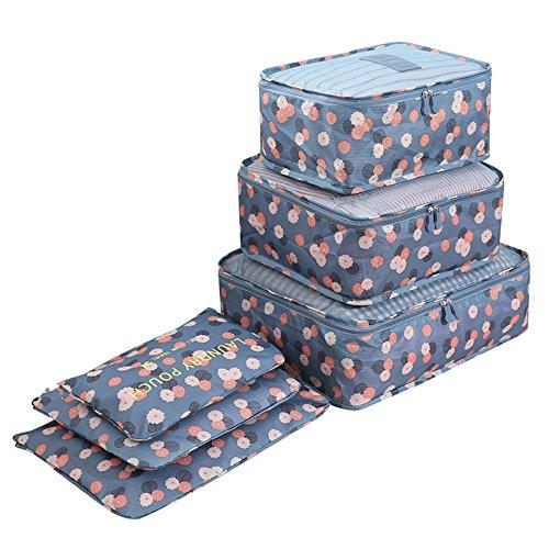 6 Set Sistema di Cubo di Viaggio - 3 Cubi di Imballaggio + 3 Sacchetti Borsa - Perfetto di Viaggio Dei Bagagli Organizzatore (Blue Flower)
