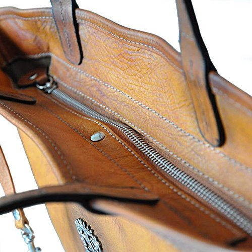 Pratesi Monterchi ans fourre-tout en cuir italien (marron foncé) bleu clair