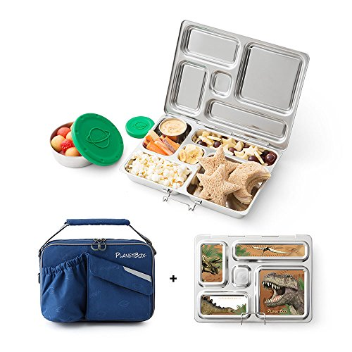 PlanetBox Rover Lunchbox- Blue Carry Bag with Dinosaurs Magnets by PlanetBox