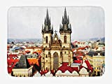 EJjheadband Wanderlust Bath Mat, Bird Eye Prague View and Tyn Building Castle Houses Autumn Town Square Picture, Plush Bathroom Decor Mat with Non Slip Backing, 29.5 W X 17.5 W Inches
