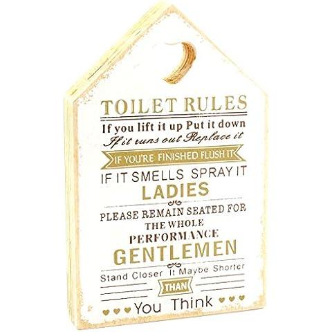 Toilet Rules Targa in legno a forma di casa (Bianco e Oro)
