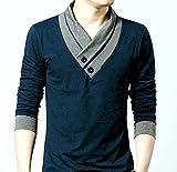 #6: Designer V-neck t-shirt Men Navy Blue Solid tshirt /t shirt
