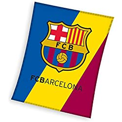 MERCURY Manta Polar de 140 x 110 cm, Estampado FC Barcelona, Algodón, Queen, 30x12x12 cm