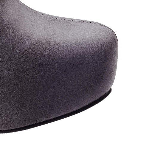 AllhqFashion Damen Rund Zehe Schließen Zehe Wasserdicht Plattform Rein Stiefel Grau