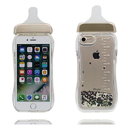 Custodia iPhone 7 Plus, [ Liquid Scintillante protezione Premium Shell Glitter Bling ] iPhone 7 Plus Copertura, Cartoon TPU Case Cover per iPhone 7 Plus 5.5 (bottiglia di latte) rosa # 4