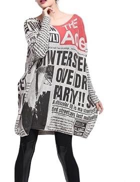 ellazhu Mujer Baggy Mode estampado Jersey Cuello Redondo Talla Única gy269NP