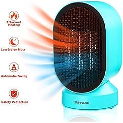 SGODDE Ventilateur de Table et Chauffage Électrique 2 Modes 21 cm | 4W Turbo Fan | fonction oscillation 50° | Ultra Silencieux 45dB | Vent Puissant Pour Poussette,Camping,Bureau,Voiture