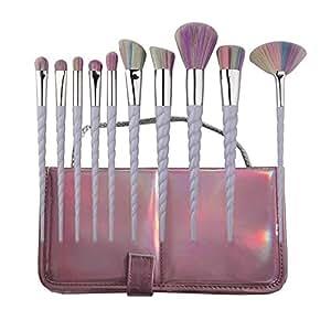 YUMUN®Einhorn Pinsel Set 10 Stück Unicorn Make-Up Lidschatten Mit Tragetasche (Regenbogen-Haar)