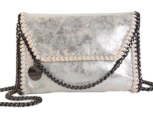 Rovanci Damen Handtasche Elegant Tote Handtasche Taschen Damen Shopper Schultertasche Grau Silber