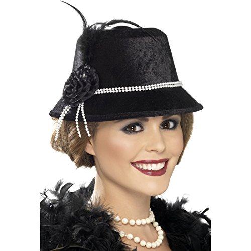 Amakando 20er Jahre Hut Charleston Damenhut schwarz Vintage Mütze Elegante Kopfbedeckung Karneval Glockenhut Flapper Kostüm Zubehör