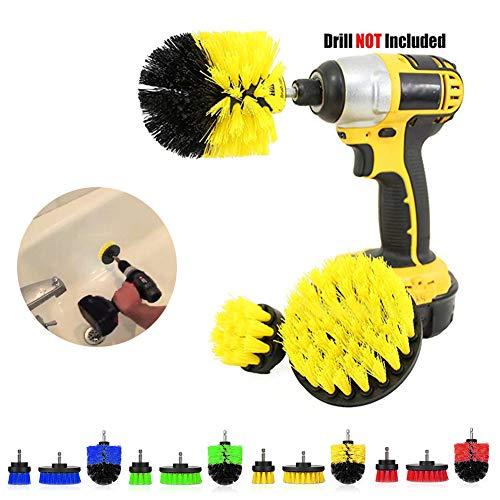Heavy Duty Stiff Scrub Brush Reinigung Kit (3PCS), Drill Powered Reinigung Rotary Electric Brush Kit mit langen Reichweite Anlage für Auto, Bad, Waschbecken, Arbeitsplatte, Waschküche Reinigung (Auto Reichweite-tool Lange)