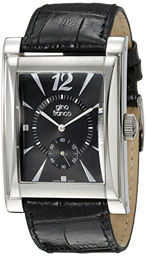gino franco Men's 902BK Stainless Steel Case and Genuine Leather Strap Watch