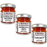 3 CREME GUINNESS Carolina Reaper, Moruga Red Scorpion, Infinity PICCANTE ESTREMO Crema di Peperoncino KIT 30g x 3 pz