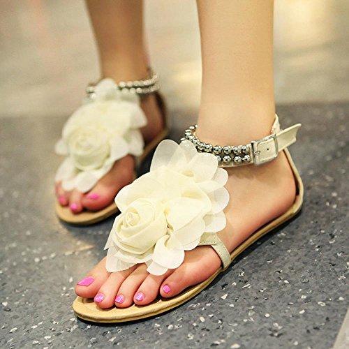 TAOFFEN Femmes Tongs Sandales Confortable Plats Ete Plage Chaussures De Fleur 3311 Beige