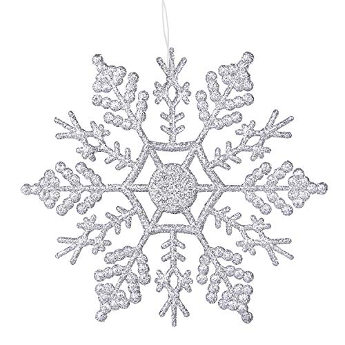 DegGod Weihnachten Schneeflocken Saite, Weiß Kunststoff Snow Flake Ornamente für Weihnachts Neue Jahr Thanksgiving Urlaub Party Zuhause, und Weihnachtsbaum Hängen Dekoration Silver, 4inches