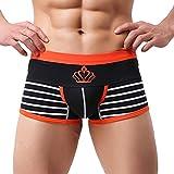 Männerunterwäsche Erotisch,Wawer Männer Sexy Unterwäsche Striped Boxer Briefs Shorts Ausbuchtung Pouch Unterhose (XXL, Schwarz)