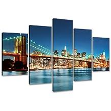 200 x 100 cm Bild auf Leinwand New York USA 6301-SCT deutsche Marke und Lager - Die Bilder / das Wandbild / der Kunstdruck ist fertig gerahmt