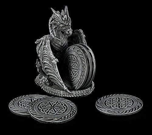 Gothic Glas Untersetzer Set mit Drachen Figur als Halter | Geschenkidee Deko - Drachen-halter