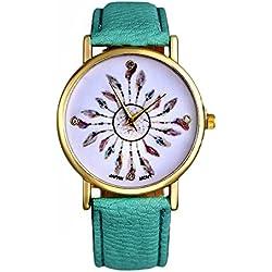 SSITG Women's Feather Wrist Watch Women Watch Leather Band Analog Quartz Wrist Watch Gift Gift