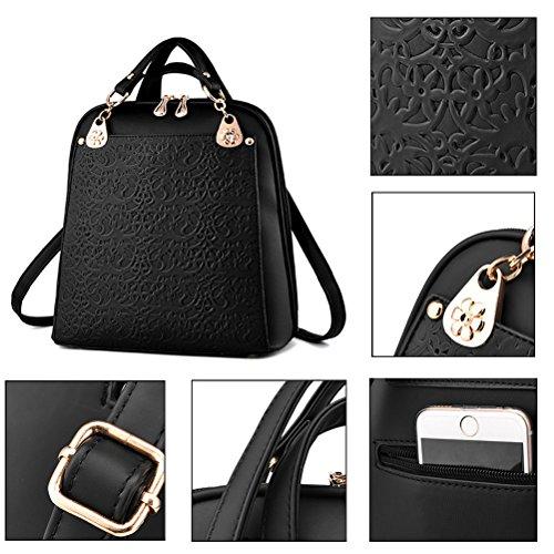 yimojifashion Frauen Mädchen Leder Mini Schultasche Travel Backpack Rucksack Schultern Bag, Style 1-Black