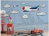 BHXINGMU Kundenspezifische Wandbilder Wanddekorationen Wände Aus Ziegelstein 3D Karikaturflugzeuge Große Kinderzimmerdekoration 300Cm(H)×450Cm(W)