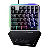 CAPTIANKN G40 One-Handed Game Keyboard Mechanical Mini Game Metal Keyboard, Colorful Lights,Mixedcolorgunpanel