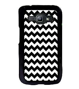 Fuson Designer Back Case Cover for Samsung Galaxy J2 J200G (2015) :: Samsung Galaxy J2 Duos (2015) :: Samsung Galaxy J2 J200F J200Y J200H J200Gu (Zigzag Cross Criss cross White Zigzag Black Zigzag)