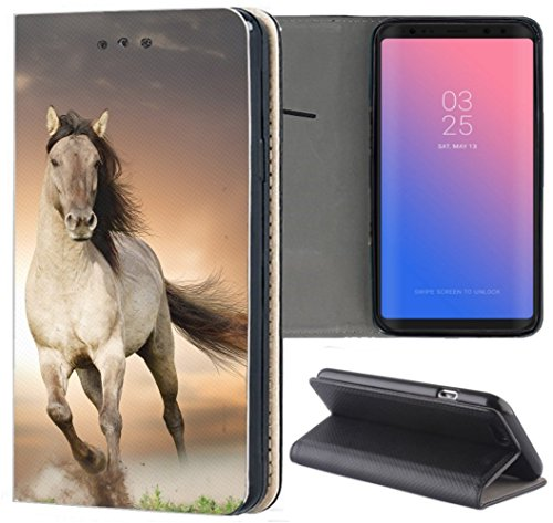 Kuna-Mobile Hülle für Samsung Galaxy A40 Handyhülle Motiv 1005 Pferd Braun aus Kunstleder Handyhülle Flipcover Schutzhülle Smart Cover Handy Case Hülle für Samsung Galaxy A40