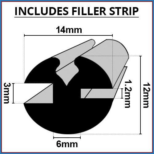 Preisvergleich Produktbild Shower Seal UK Duschdichtung UK claytonrite Gummi Fenster Verglasung Dichtung / 3 mm x 1, 2 mm / inklusive Filler Leiste / verwendet auf Autos,  Boote,  Wohnwagen und Wohnmobilen / CR003