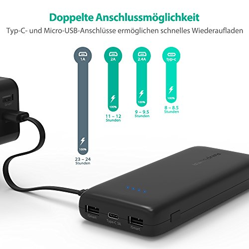51Lki1ZkwQL - [Amazon] RAVPower 22.000mAh Powerbank mit USB-C-Anschluss für 29,99 € statt 39,99€