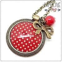 Sautoir rouge à pois bronze et cabochon verre - Long collier papier rouge à pois - Papier à pois Rouge - idée cadeau de noël, cadeau de saint valentin, cadeau d'anniversaire, cadeau fête des mères