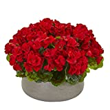 Nearly Natural 8193-RD Geranie Kunststein Pflanzgefäß UV-beständig (innen und aussen) Seidenpflanzen, rot