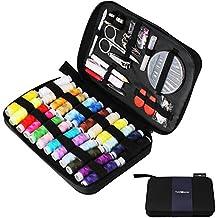 Tuxwang Kit de costura con 90 piezas Accesorios de costura premium con funda de transporte, 24 carretes de hilo - 100 m de gran tamaño, 1 paquete de agujas de coser (cuenta 30) Kit de costura de viaje