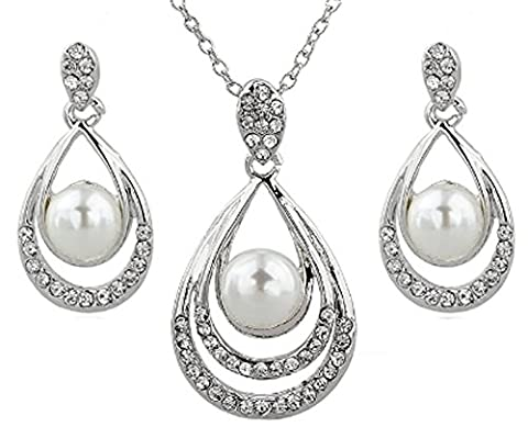 SaySure - Simulated Pearl Jewelry Sets For Women Crystal Bridal Jewellery