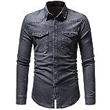 MRULIC Herren Denim Langarmhemd Herbst und Winter Hotsale Button Down Shirt(Grau,EU-44/CN-M)