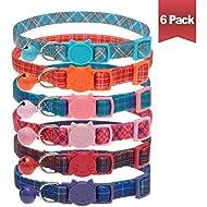 SCIROKKO Cat Collars Quick Release with Bell - 6 Pcs Plaid Breakaway Pet Collars - Adjustable Mixed Colors Collar Set