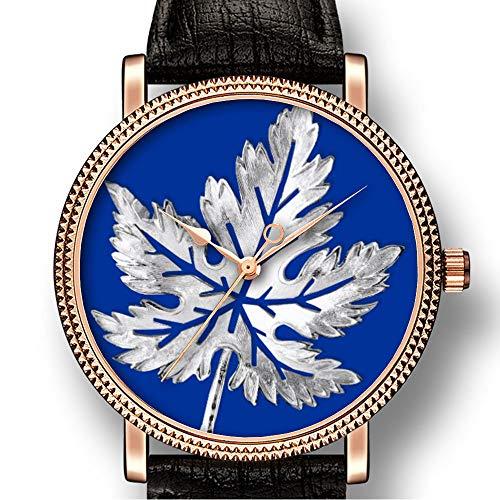 Personality Art Herren-Armbanduhr, Goldton, Quarzuhrwerk, Lederimitat, Casual Watch-189 Bling-Print -
