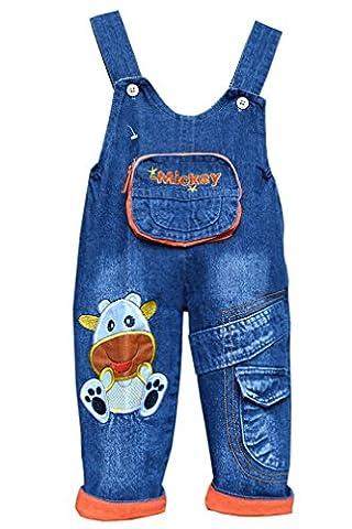 Happy Cherry Salopettes en Denim Bleu Combinaison Bébé Enfant Mixte Pantalons Bicolore Vêtements de Corps Automne Hiver Printemps - Vache - Pantalon longueur:67cm(Adapter 6-9mois) - Orange