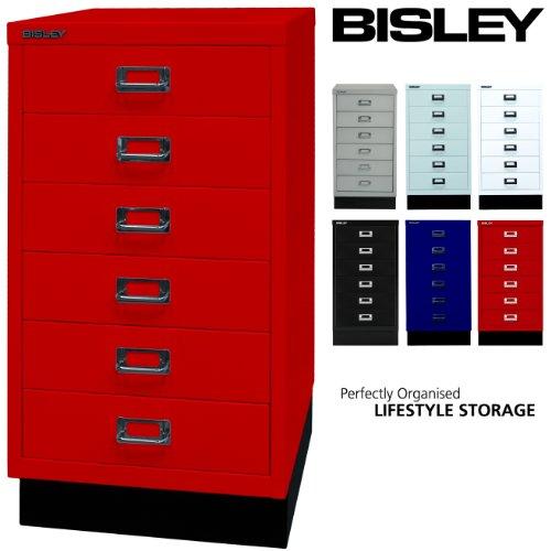 Bisley Schubladenschrank 29 aus Metall | Schrank mit 6 Schubladen und Sockel | Büroschrank DIN A3 |...
