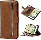"iPhone 6 Plus Case,iPhone 6S Plus Case (5.5""),(NOT FOR iPhone 6 6S) YOKIRIN Portable Magnetic Zipper Premium PU Leather Purse Wallet Cover Kickstand Cash Card Holder Slot Series Hand Wrist Strap Design Folio Flip Case for iPhone 6 Plus/6S Plus, Brown"