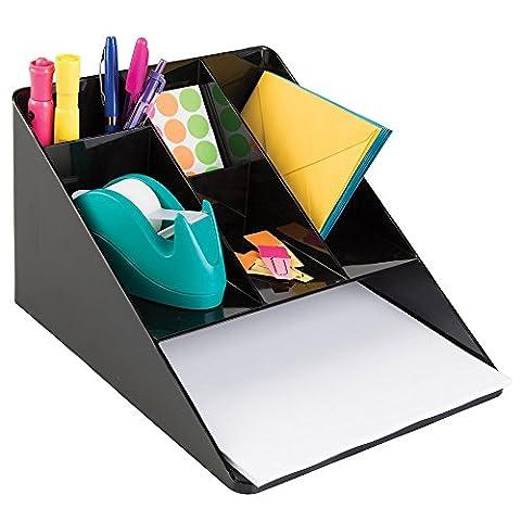 mDesign Schreibtisch Ordnungssystem – Farbe: Schwarz – Schreibtisch Organizer mit Papierablage und 5 Fächern – Praktischer Schreibtischköcher für mehr Ordnung am Arbeitsplatz