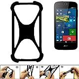 K-S-Trade Handyhülle für ACER Liquid M330 Schutz Hülle Silikon Bumper Cover Case Silikoncase TPU Softcase Schutzhülle Smartphone Stoßschutz, schwarz (1x)