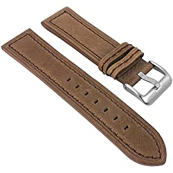 Minott Vintage Look | Replacement Watch Strap Leather Band Brown with with Tone on Tone on Tone Stitching Smooth 30019, Width: 22 mm