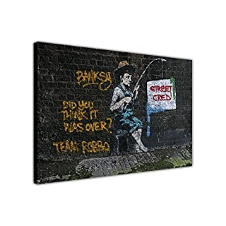 Banksy Banksy Street Cred on Framed Canvas Wall Print Graffiti Home Decoration SIZE: A2 - 24