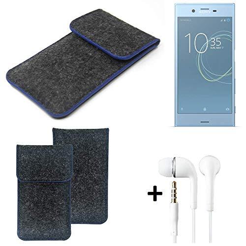 K-S-Trade® Filz Schutz Hülle Für -Sony Xperia XZs Dual SIM- Schutzhülle Filztasche Pouch Tasche Handyhülle Filzhülle Dunkelgrau, Blauer Rand Rand + Kopfhörer
