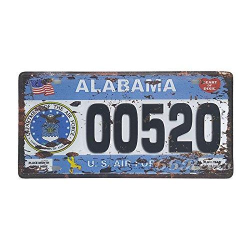 66retro Alabama 00520, US-Air Force, geprägt Vintage Blechschild, Retro Auto Nummernschild, 30cm x 15cm