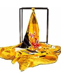 Prettystern P674 - 90cm carré en 100% soie Foulard Echarpe Art Nouveau GUSTAV KLIMT - Le Baiser / Kiss (jaune)
