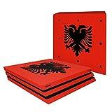YOUNiiK Styling Skin Designfolie für Sony PlayStation 4 Pro / PS4 Pro Flagge Albanien (Lieferumfang = Skin für Ober- /Unterseite, Front und Seitenteile)